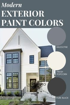 9 modern exterior paint color combinations that will give your home massive curb appeal. These modern colors are guaranteed to stand out on your block. Best Picture For Curb Appeal garage For Your Tas Exterior Paint Color Combinations, House Paint Color Combination, Exterior Color Schemes, Exterior Design, Behr Exterior Paint Colors, Gray Exterior, Stone Exterior, Best House Colors Exterior, House Paint Exterior