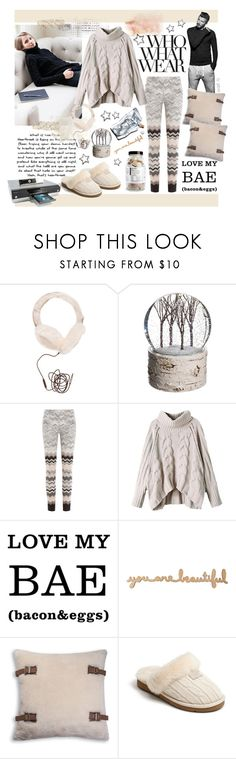"""What to Wear: Netflix Binge"" by gabree ❤ liked on Polyvore featuring Who What Wear, Love Quotes Scarves, Emerson, Allstate Floral, Prtty Peaushun, Missoni, Toshiba and UGG Australia"