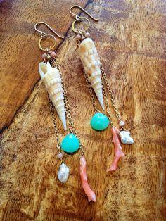 Hawaiian Shell Long Dangle Earrings