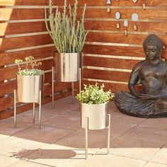 Chelsea Grove Silver Metal Planters in Silver Stands Set of 3 | Google Shopping