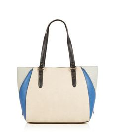 Blue Patent Panel Structured Tote Bag