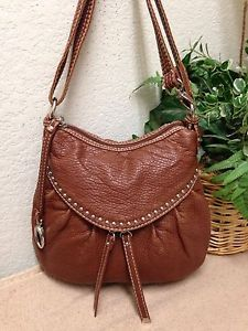 a9b12251464d Red by Marc Ecko Brown Pebble Leather Silver Studded Hobo Handbag Shoulder  Bag