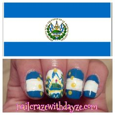 Representing! Nail Art Inspired by a flag. El Salvador, Central America!