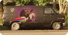 Didn't everyone want a van back in the 70's?  Especially one with a knight on a flying unicorn riding on a rainbow on the side? (Sir Mitchell)  Mine was a metalic royal blue color and lots of chrome!