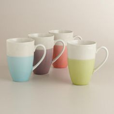 I want to start replacing my small mugs with big, fun ones...  Dipped Two-Tone Mugs, Set of 4 | World Market