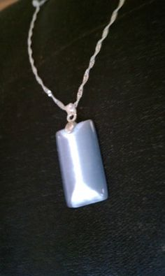 Slate Pearl Gray Cats Eye Pendant on Silver Chain Necklace | eBay