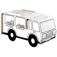 Camping car en carton feutres biolittle bricolage jouets en carton camping car et carton - Camping car a colorier ...