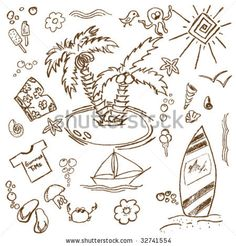Full page of fun hand draw doodles on a summer theme - stock vector