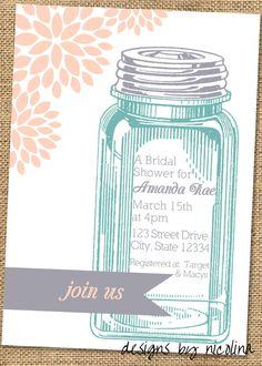 Peach and Aqua Vintage Inspired Mason Jar - Bridal Shower Invitations