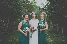 Image by Josh Tollafield Photography - A Maggie Sottero Wedding Gown with gypsophila baby's breath flower crown for a wedding at Cripps Barn including Coast forest green bridesmaid gowns.