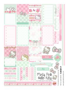 Free Planner Printable: Mint Green & Pink Hello Kitty Free Printable Mint Green and Pastel Pink Hello Kitty Planner Stickers from Organized Potato To Do Planner, Planner Layout, Free Planner, Planner Pages, Happy Planner, Blog Planner, 2015 Planner, Planner Ideas, School Planner