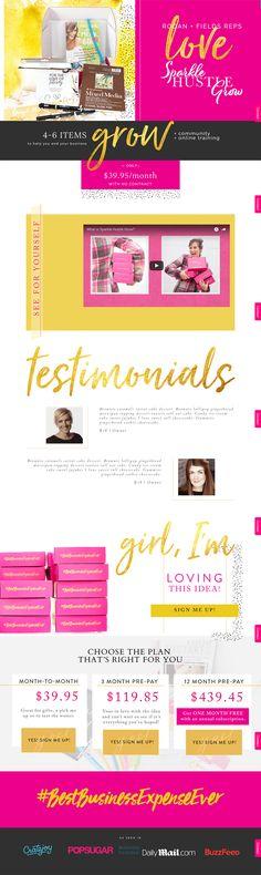 sparkle hustle grow website design landing page sales page divi wordpress designer greenville charlotte female entrepreneur rodan fields posh gold pink subscription box