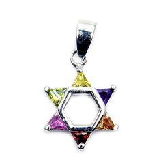 Jewish Star of David Sterling Silver Multi-gem Pendant  Price : $18.95 http://www.silverplazajewelry.com/Jewish-Sterling-Silver-Multi-gem-Pendant/dp/B00K3Q8R7Y