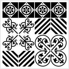 Reusable Laser-Cut Large Floor or Wall Tile Stencil #18 fits 14x14 inch to 17x17 inch by PearlDesignStudio on Etsy