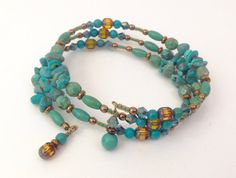 Turquoise Wrap Bracelet Memory Wire by SRyanJewelryDesigns on Etsy