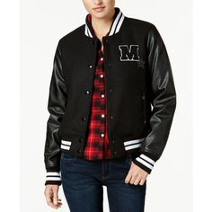 Madden Girl Juniors' Faux-Leather-Sleeve Bomber Jacket, Created for... ($30) ❤ liked on Polyvore featuring outerwear, jackets, black, collar jacket, faux leather sleeve jacket, collared bomber jacket, madden girl and bomber jackets