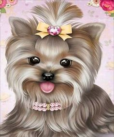 Embroidery & Cross Stitch Diy Diamond Embroidery Yorkshire Terrier Painting Cross Stitch Home Decor & Garden Yorkshire Terriers, Cross Paintings, Dog Paintings, Animals And Pets, Cute Animals, Painting & Drawing, Puppy Images, Cute Animal Drawings, Cute Illustration