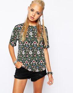 Image 1 ofGlamorous Oversize T-Shirt in Folk Floral Print