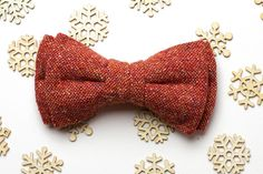 Boyfriend gift Orange Woolen bow tie Gift for him Bow ties for
