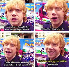 Rupert about Romione- I agree!! I am so over the 'Harry and Hermione needed to end up together' whiners!!! They are with the ones they need to be with!!