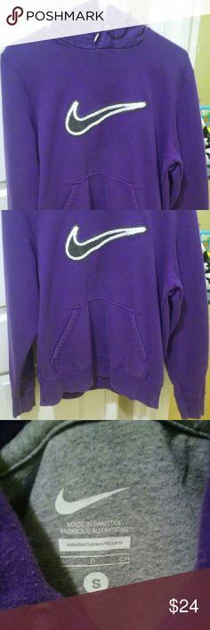 Purple Nike Hoodie Sz S Purple Nike Pullover Hoodie. Excellent Condition. Very pretty Dark Purple with Black and white Nike Symbol. Barely Worn. Nike Tops Sweatshirts & Hoodies