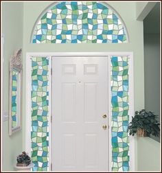 These colorful shards of glass will add a beautiful decorative effect and ambiance to any room. The Atlantis stained glass window design is an easy way to… Stained Glass Window Film, Modern Stained Glass, Stained Glass Patterns, Window Glass, Window Privacy, Window Panels, Window Coverings, Window Clings, Privacy Glass