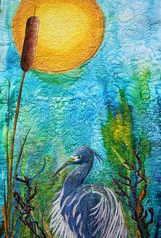 Art Quilts | ... Hand Painted Art Quilt Heron under the moon | Barbara Harms Fiber Art