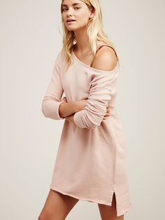 Stay Here Tunic | Comfortable cotton tunic with a slouchy off-the-shoulder silhouette. Rolled sleeve cuffs and raw edges give this a cool girl feel. Slight high-low hem creates an effortless fit.