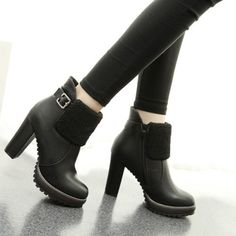 Fashion Thick High-heeled Round Toe Ankle Martin Booties
