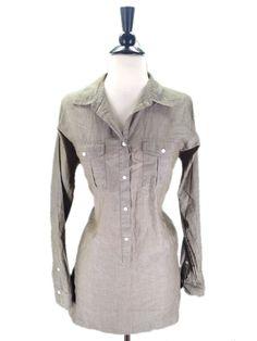 J. Crew size Small Olive Green Long Tunic Button Down #JCrew #ButtonDownShirt #Casual