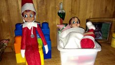Elf on the shelf: Someone touched Abby so her good friend, Sam the Elf, came to give her an IV of Christmas cheer. The Elf, Elf On The Shelf, Cheer, Crafts For Kids, Shelves, Holiday Decor, Christmas, Ideas, Home Decor