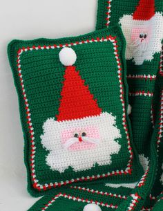 Jolly Santa Afghan and Pillow Crochet Pattern por Maggiescrochet