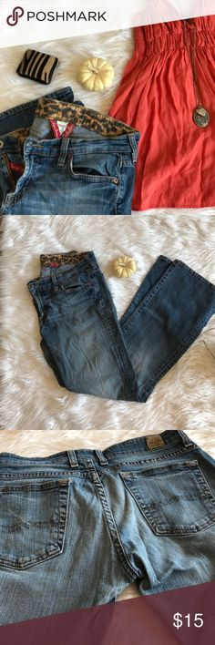 Lucky Brand Leopard Lined Jeans My favorite jeans!  Very worn & soft!  Regular inseam.  Size 6/28. Boot leg.  One knee has a rip as shown!  Cute leopard lining!👖Bundle & save 20%!  All items pictured are in my closet!💥 Lucky Brand Jeans Boot Cut