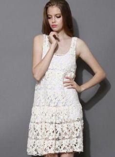 Off-white floral crochet dress www.UsTrendy.com #offwhite #crochet #floral #chic #sleeveless #summer #ootd #cute #love
