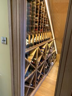 Bespoke under stairs wine racking project installed in Durham UK. Fits the spac Stair Storage, Cube Storage, Kitchen Storage, Food Storage, Cupboard Shelves, Wine Shelves, Under Stairs Wine Cellar, Oak Wine Rack, Wine Racks