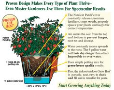 Over the past 45 years farmers and researchers have developed a unique growing system that increased vegetable production by and incredible 147%. How? They refined the way water, air and fertilizer is provided for the plants. Now this same technology is available for home gardeners. Exactly the same technique professionals use in the fields is built-in to every Garden PatchTM Grow BoxTM. The result? Your plants will flourish, blossom and bear fruit like you've never even dreamed of.