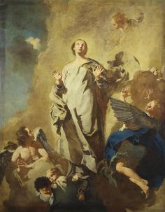 """""""But whoever is joined to the Lord becomes one spirit with him."""" 1 Corinthians 6:17 // The Immaculate Conception with Angels / Inmaculada Concepción con ángeles / Immacolata Concezione e angeli  //1744-45 circa // Giovanni Battista Piazzetta // Provenienza: Parma, antica chiesa dei Cappuccini ( Santa Maria Maddalena) // Galleria Nazionale, Parma // Virgin Mary / Virgen María"""