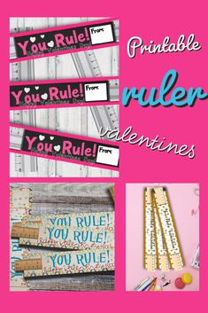 """Perfect Non-Candy Valentine. Tell all your friends """"You Rule!"""" Just print, cut and add the ruler! Easy Peasy. #valentinesday #Classroomvalentines #kidvalentine #yourule #printable #valentine Family Fun Day, Printable Valentine, Personalized Photo Gifts, Learning Time, Unique Gifts, Handmade Gifts, Valentines For Kids, Kid Styles, Sell On Etsy"""