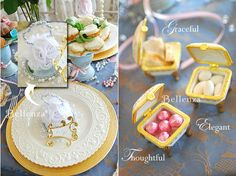 Victorian-style tea party favors -- white rose pomander sachets and porcelain footed keepsake boxes