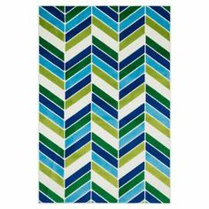 """Showcasing a geometric chevron-inspired motif in ivory and blue, this artfully loomed rug brings eye-catching style to your living room seating group or master suite ensemble.   Product: RugConstruction Material: 100% PolypropyleneColor: Ivory and blueFeatures: Geometric chevron-inspired motifPile Height: 0.3""""Note: Please be aware that actual colors may vary from those shown on your screen. Accent rugs may also not show the entire pattern that the corresponding area rugs have.Cleaning and…"""