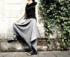 NO.26 Light Grey Cotton Asymmetric Harem Pants by JoozieCotton