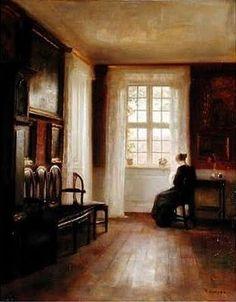 Carl Vilhelm Holsoe (Danish artist, 1863-1935) Woman Sewing by a Window