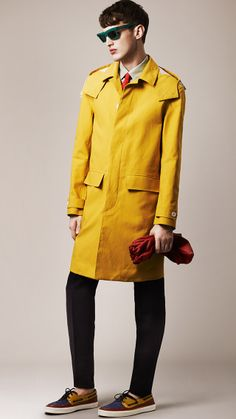 Burberry Prorsum Menswear Spring/Summer 2014 bright yellow/gold water resistant coat with hood