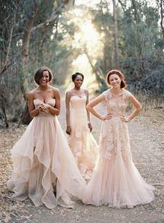 Vintage 2016 Blush Lace Beach Garden Wedding Dresses Sexy vestido de noiva Deep V neck Cap Sleeve Layered Reem Acra Lace Long Bridal Gowns