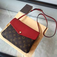 Louis Vuitton Twinset in Red, shoulder strap in leather, more colours visit http://www.designerpurses.co/