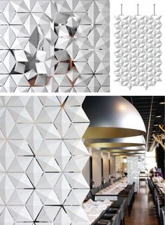Facet by Mireille Meijs / Alison Milne Design. Bloomming has collaborated with 3form on this new product innovation. Facet is an interactive solution with a unique aesthetic for partitions, screens or large scale centre piece applications. Facet brings a new dimension to interior space design. Designer Mireille Meijs used PCABS and aluminum to create this modular system.