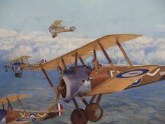 Sopwith camels flying in formation, at its best/worst Airplane Painting, Airplane Drawing, Airplane Art, Raf Centenary, The Art Of Flight, Ww2 Planes, World War One, Nose Art, Aviation Art