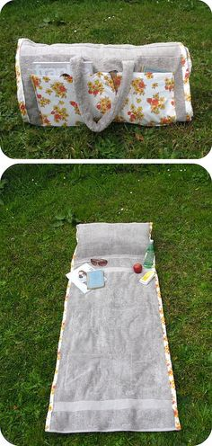 DIY ~ How to make a tote bag that turns into a beach towel (with a pillow in it!).  Involves some very basic sewing.
