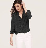 Rice Dot Shirred Button Down Blouse - In a delicate rice dot print, shirring at the front and back yoke brings effortless appeal to this flowy essential, styled with a mandarin collar for a chic boost. Long sleeves. Button front. Button cuffs.