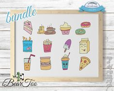 Food SVG Clipart Items Transparent Bundle Vector Sketches | Etsy How To Make Stickers, Clear Stickers, Doritos, Vector File, Svg File, Handmade Art, As You Like, Scrapbooks, Planner Stickers